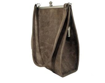 Gray suede bag, Frame bag, Clutch bag, Shoulder bag, Suede shoulderbag, Evening bag, Click frame bag, Gray frame bag, Gift for her.