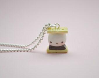 Kawaii Smores Charm, kawaii necklace, kawaii planner charm, kawaii, lolita, miniature food jewelry, kawaii jewellery,smores necklace