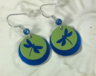 Dragonfly Earrings-Dangle Earrings-Blue Dragonflies