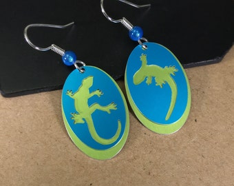Gecko Earrings-Animal Lover's Gift-Gecko Silhouette Earrings-Blue/Green-Lizard
