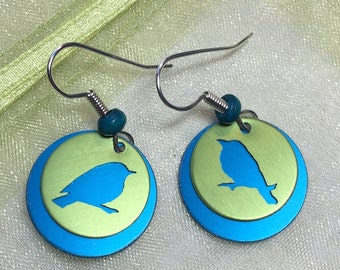Bird Earrings-Blue Bird Earrings-Bird Lover Gift-Bird Silhouette Earrings