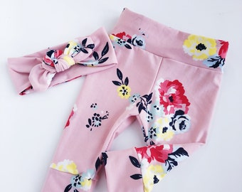 6fa86e43519ab Soft pink floral~ baby leggings and headband set newborn leggings newborn  take home baby pants baby girl leggings new baby leggings