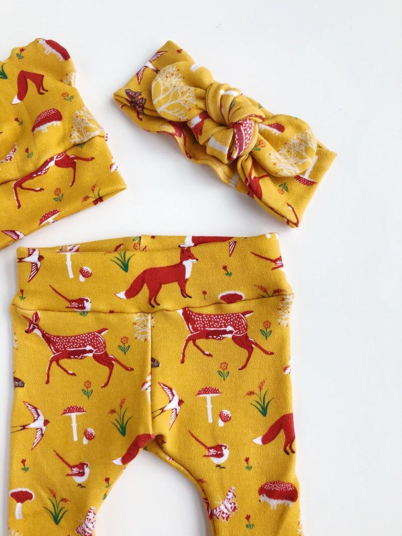 Foxes on Mustard Baby leggings newborn leggings toddler leggings baby boy leggings baby girl leggings newborn leggings arrow head leggings