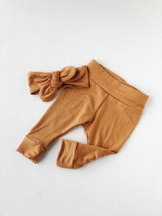 Caramel baby leggings set baby leggings and headband set newborn leggings newborn take home baby pants baby girl leggings cotton baby