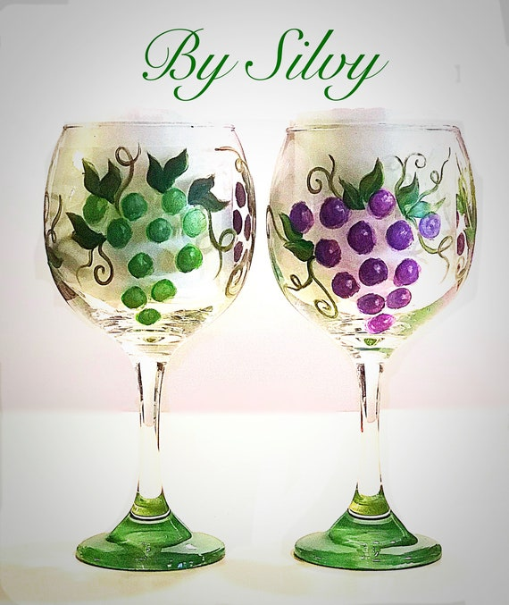 Grapes On Wine Glass Hand Painted Etsy