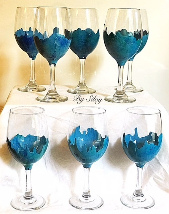 Set Of 4 Hand Painted Stemmed Wine Glasses On Blue Marble Etsy