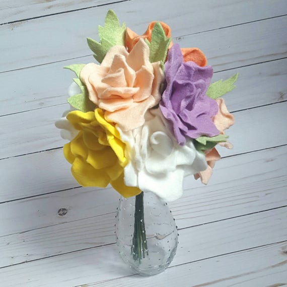 Spring Bouquet Spring Flowers Felt Rose Bouquet Felt Flower Etsy