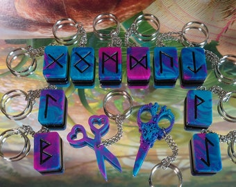 Purple and Blue Keyrings and Pendants with butterflies