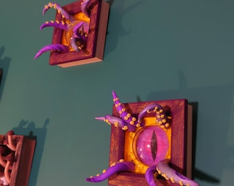 Purple and yellow Tentacle frame art decoration- Ready to ship