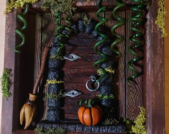 Witch or Fairy door- Halloween art decoration frame - Ready to Ship