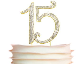 15 Birthday Cake Topper - GOLD Quinceañera Cake Topper - 15 Number fifteen - 15th Birthday Party Decoration Ideas - Sparkly Rhinestones