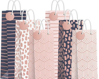Rose Gold Wine Gift Bags   Assorted Rose Gold, Pink, and Navy Wine Gift Bags with Name Tags and Handles   Set of 6   Modern Geometric Bags