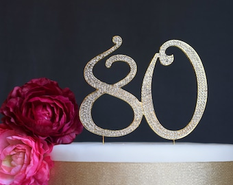 80th Birthday Gift 80th Birthday Decorations GOLD 80th Cake Topper 80th Anniversary 80 Cake Topper 80 Birthday Eighty Number Cake Topper