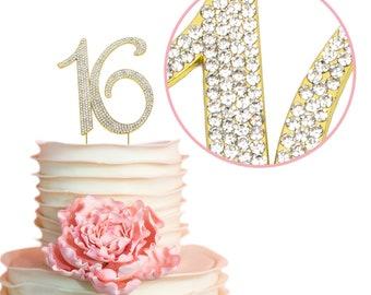 16 GOLD Cake Topper