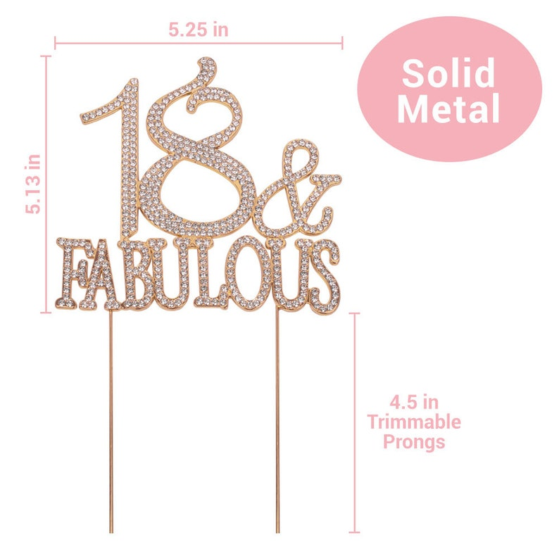 18th Birthday Party Decoration Ideas 18 Birthday Cake Topper Perfect Keepsake ROSE GOLD 18 and Fabulous Sparkly Rhinestone Cake Topper