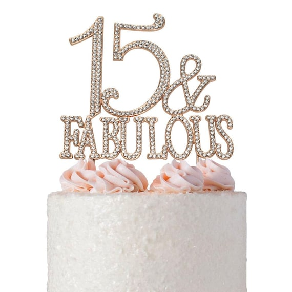Terrific 15 Birthday Cake Topper Rose Gold 15 And Fabulous 15Th Etsy Funny Birthday Cards Online Inifofree Goldxyz
