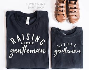 Raising A Little Gentleman - Little Gentleman   BLACK shirts  Set of 2   Mom & Son Matching Shirt   Gentlemen Shirt    Mom of Boys