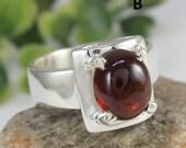 Citrine Ring,Natural Gemstone Citrine ,Garnet Ring 925 Sterling Silver Ring Cab Garnet Handmade Ring Solid Silver,Ring Jewelry