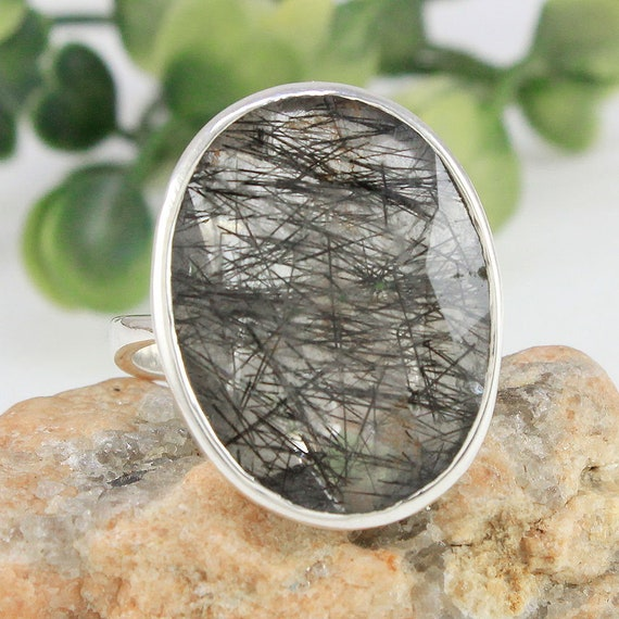 Valentines Natural Black Rutile Ring 925 Sterling Silver Jewelry Black Rutile  Ring  Lovely Ring  Gift Jewelry