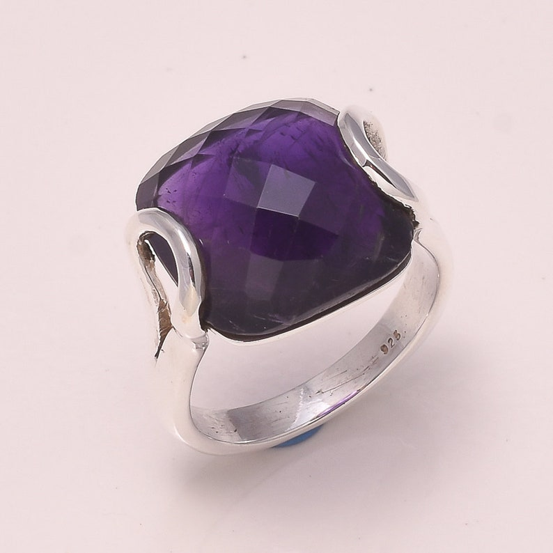 Ring Amethyst Handmade Solid Silver Ring Jewelry Amethyst Ring,Natural Gemstone  Faceted Amethyst 925 Sterling Silver