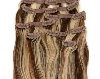 Medium Brown with Blonde Highlights: Clip In Human Hair Extensions, Color #P4/613