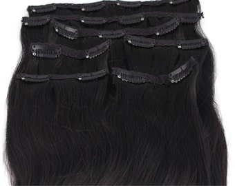 Jet Black: Clip In Human Hair Extensions, Color #1