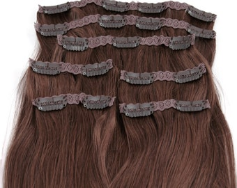 Chestnut Brown: Clip In Human Hair Extensions, Color #6 Chestnut Brown