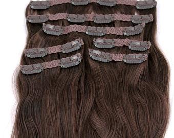Medium Brown: Clip In Human Hair Extensions, Color #4 Medium Brown