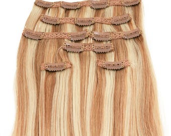 Blonde with Platinum Highlights: Clip In Human Hair Extensions, Color #P27/613