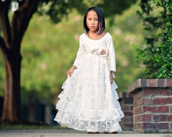 4435e592bd0 Country Rustic Flower Girl Toddler Princess Dresses Long Sleeves White  Bohemian Tween Junior Bridesmaid Ruffle Dress Pretty as a Rose