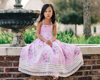 0eadcd29591 Toddler Floral Easter Dress Girls Vintage Floral Lace Easter Dress Cotton  Tea Party Birthday Twirl Dress Dollcake Dress Amberley