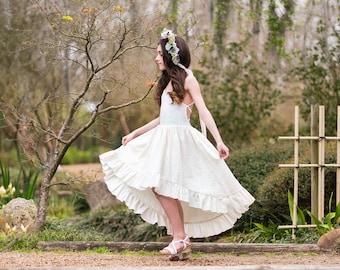 ca055d322af Ivory Beige Bohemian Maxi Dress for Girls Boho Flower Girl Dress Hi Low Dress  Junior Bridesmaid Dress Toddler Maxi Dress Stella