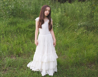 998b5bdc17d Boho Girl Summer Photography Photoshoot Dress Bohemian Lace Flower Girl  Maxi Dress Boho Beach Junior Bridesmaid Ruffle Dress Versaille