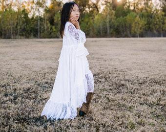 Boho Chic Tween Clothing, Tween Lace Maxi Dress, Junior Bridesmaid Vintage Lace High Low Dress, Bell Sleeves, Beach Wedding, Farrah