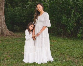 720c300bb769 Mommy and Me Vintage Lace Beach Maxi Dress for Photography Photoshoot Boho  Mother Daughter Dresses Evangeline