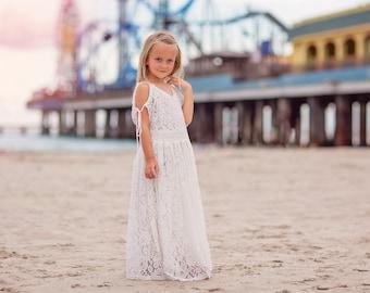 c637237d4c Tween Girl Boho Beach Lace Maxi Dress Bohemian Rustic Flower Girl Dresses  Cold Shoulders Avalon