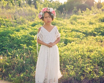 0f19103f Bohemian Beach Flower Girl White Lace Dresses Girl Toddler Boho Off  Shoulder Maxi Dress Junior Bridesmaid Dress First Communion Dress Avalon