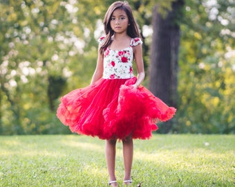 Girls Valentines Day Tutu Dress Red Rose Tulle Tutu Dress Etsy