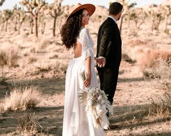 Minimalist Boho Lace Wedding Dress | Gypsy Elopement Wedding Dress | Beach Bridal Dress | Outdoor Wedding Gown | Florence