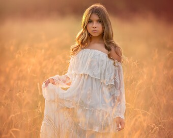 5df2e4820db6 Bohemian Toddler Girl Fall Photoshoot Photography Maxi Dress Boho Tween Off  White Off Shoulder Embroidered Ruffle Dress Mirabelle