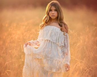 30bc26b1 Beach Boho Flower Girl Dress, White Off Shoulder Maxi Dress, Rustic Flower  Girl, First Communion Dress, Junior Bridesmaid Dress, Mirabelle