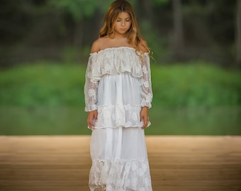 c713d25cd33 Bohemian Off Shoulder Embroidered Flower Girl Dress with Long Sleeves Boho  Tween Junior Bridesmaid White Maxi Dresses Mirabelle