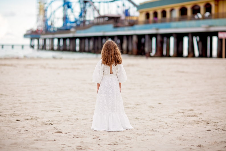 Beach Junior Bridesmaid Maxi Dress Vintage Lace Flower Girl Ruffle Dress Long Flowy Photography Photoshoot Dress Enchanted Dream