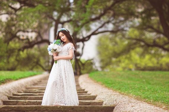 3febac8ea Boho Flower Girl Dress White Lace Dress Rustic Flower Girl