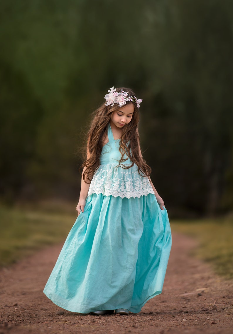 ea4c8af88ce Baby Blue Linen Lace Flower Girl Dresses Boho Beach Rustic