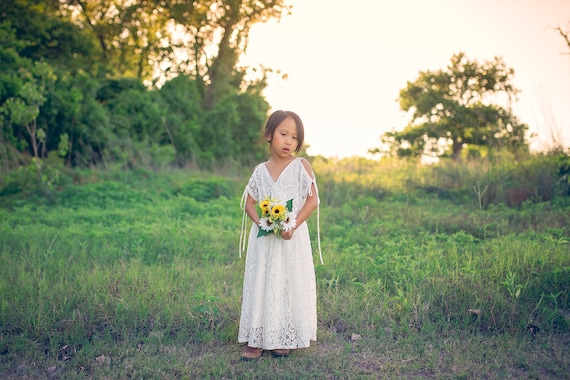 bde9f62ee2e Shabby Chic Bohemian Lace Flower Girl Dresses for Rustic