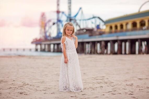 ec68a7a7585 Tween Girl Boho Vintage Lace Cold Shoulder Maxi Dresses Flower