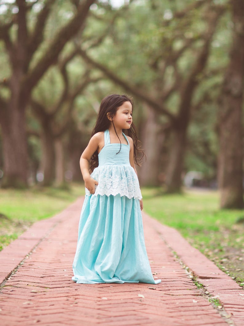 04a1c416d Aqua Country Flower Girl Maxi Dresses Boho Rustic Linen Dress | Etsy