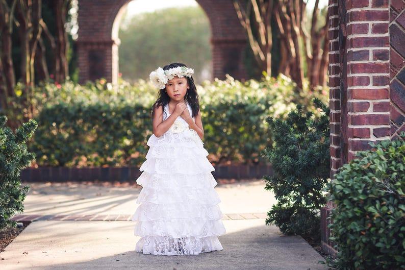 bb5c981d97 White First Communion Dress, Baptism Dress, Country Rustic Flower Girl  Dress, Junior Bridesmaid Ruffle Dress, Princess Dress, Cosette