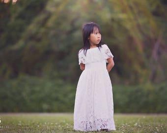 Vintage Girls Boho Lace Dress, Rustic Flower Girl Dresses, Floral Lace Dress, White Lace Dress, Toddler Lace Dress, Boho Wedding, Delilah